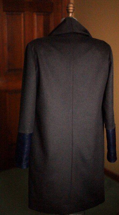 Charcoal 14 Wool and navy leather 1 2011 126 Burdastyle sewing pattern coat