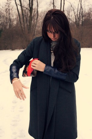 Charcoal Wool navy leather winter coat