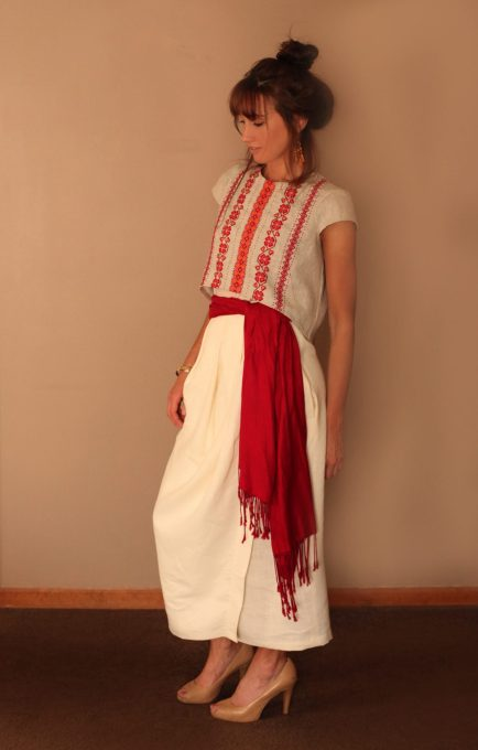 Ukrainian, Easter, Dress, Crop Top, Burdstyle, 02/2015, linen, Skirt, Maxi, Sewing blog, red, embroidery, handmade, custom, ivory, floral