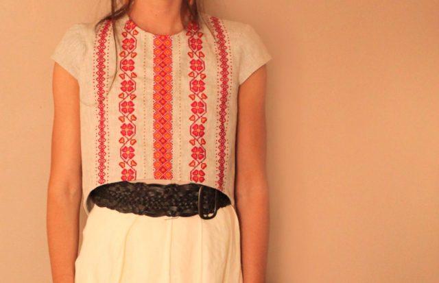 Ukrainian Embroidered Linen dress crop top