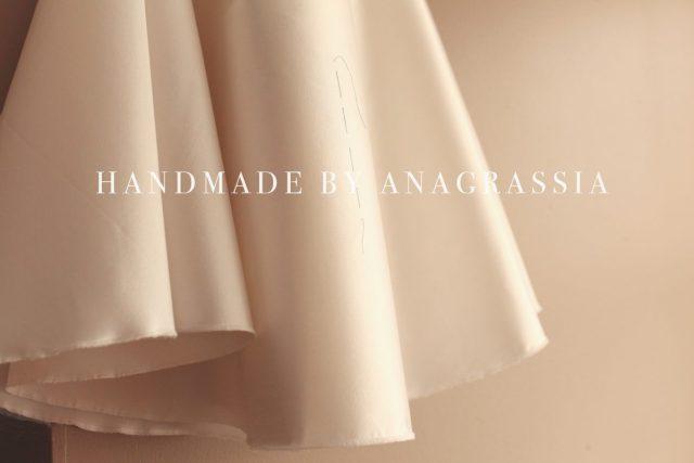 silk wool white full skirt wedding dress short handmade