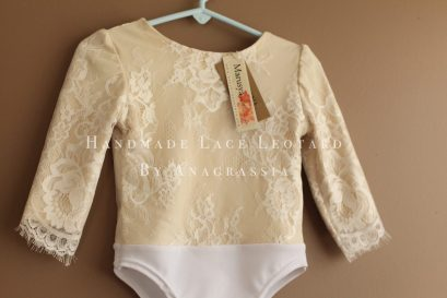 White spandex ivory skirt leotard cream chantilly lace