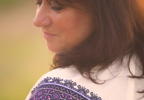 blue, purple, hand, embroidered, ukrianian, blouse, shirt, ivory, linen