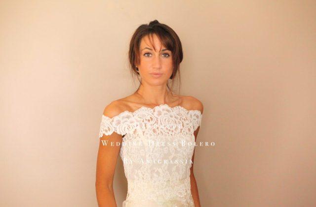 lace topper wedding dress bolero alencon ivory white