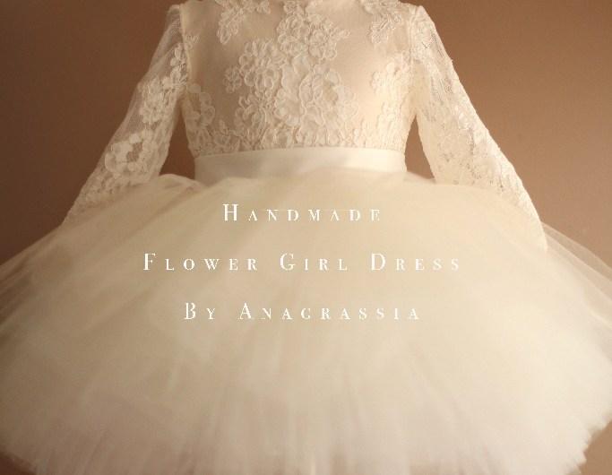 Alencon ivory white lace leotard bridal wedding flower girl dress