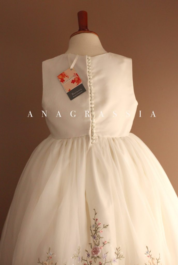 White Embroidered Communion Dress Recycled Made from Wedding gown flower girl full skirt pink floral
