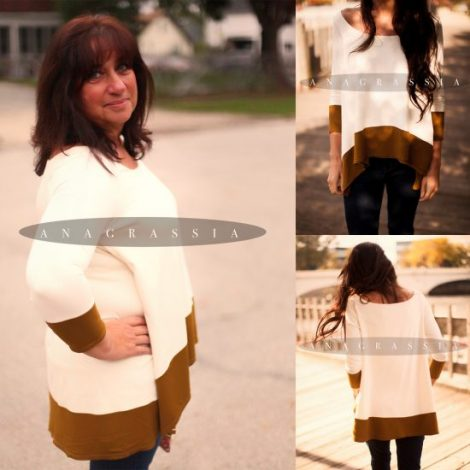 deep gold ochre green tunic cape blouse