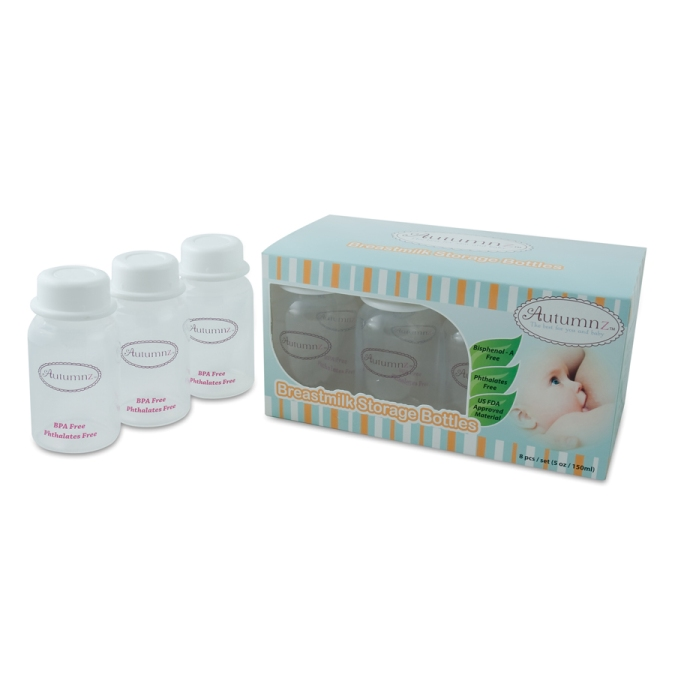 Autumnz - Breastmilk Storage Bottles (10 bottles) - White Clear
