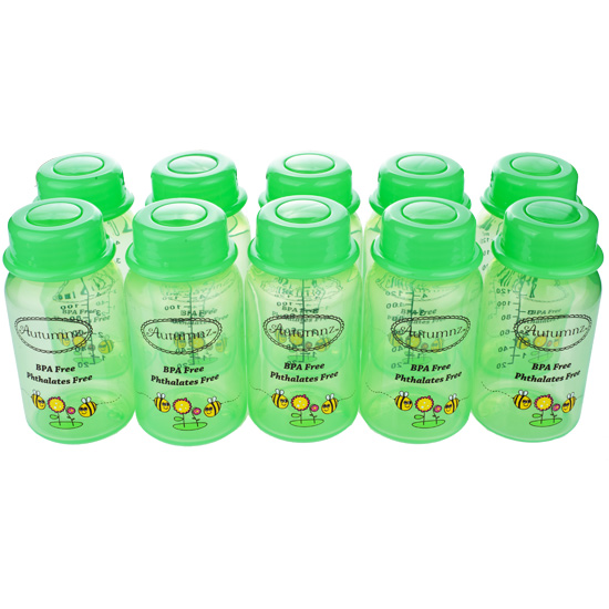Autumnz - Breastmilk Storage Bottles (10 bottles) - Green Buzzing Bee