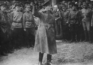 Leon Trotsky, head of the Red Army, addressed the Red Guard in 1918 during the Russian Civil War