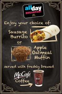Promoting McDonald's® All Day Breakfast, counter card