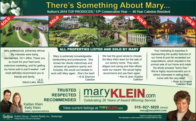 Testimonials, Mary Klein, Kind Words, Top Real Estate Agent, Caledon