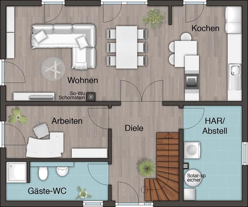 Eg Flair152re Offene Kueche Arbeitszimmer Gaeste Wc Dusche Klein