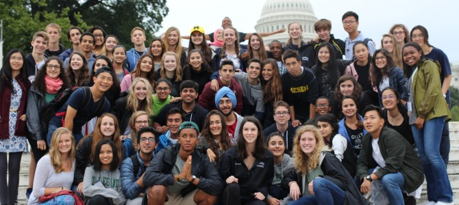 Students pose outside of the Capitol. Photo courtesy of Collegiate School.
