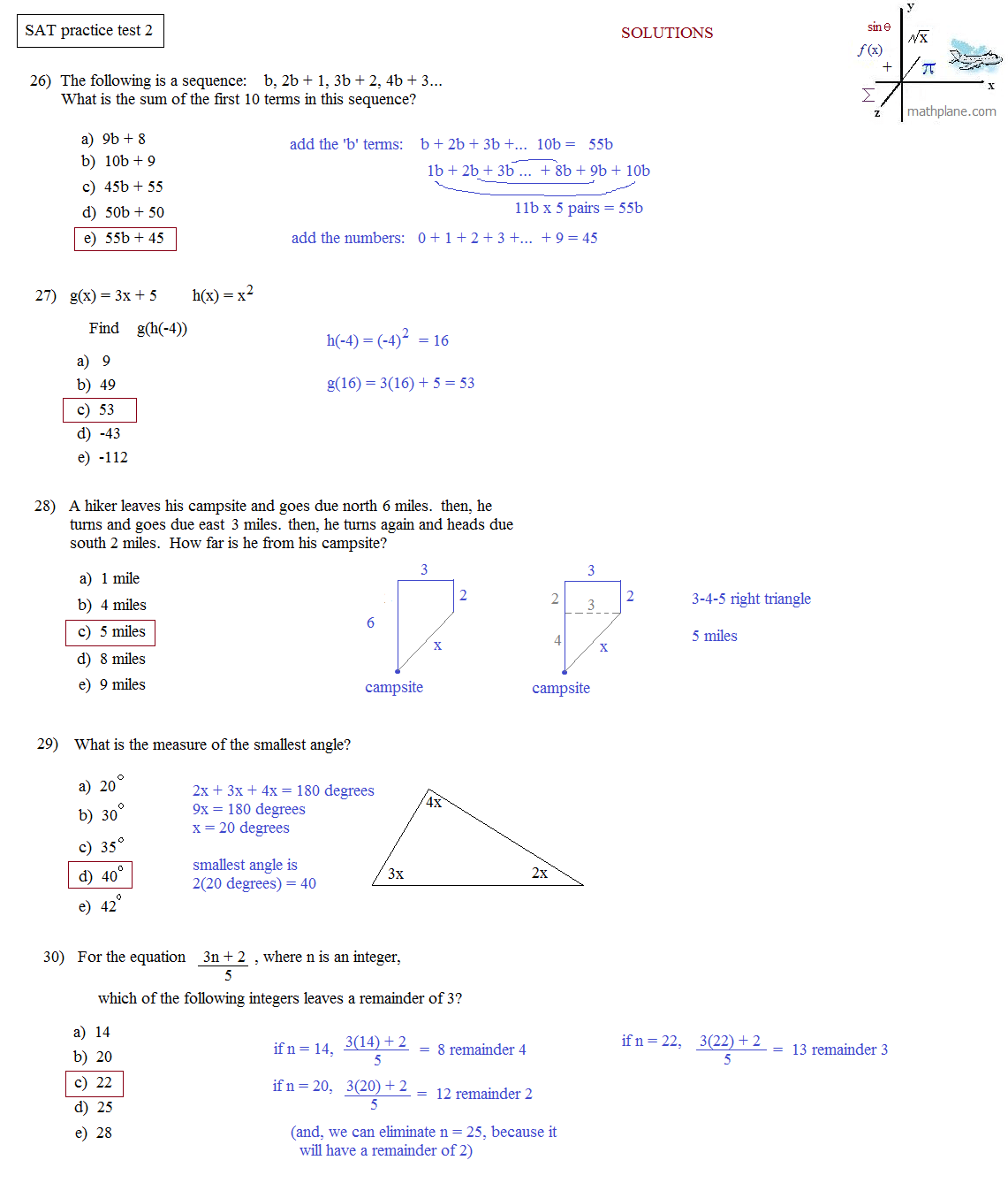 sat math practice worksheets Termolak – Sat Math Prep Worksheets