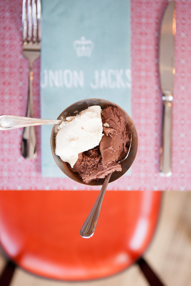 Mat Smith Photography Blog - Jamie Oliver Union Jacks - Early Grey and Biscuit, Bitter Chocolate Ice Cream scoops