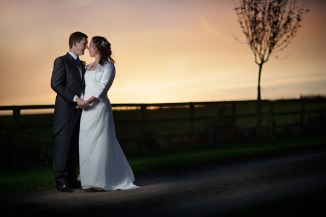 Classic Autumn Sunset Wedding Portrait - Nick and Carly - Notley Tythe Barn Long Crendon - Mat Smith Photography