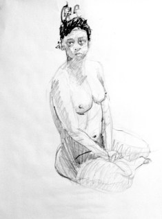 life model ruby in pencil sat with both hands between legs that are leaning to her left