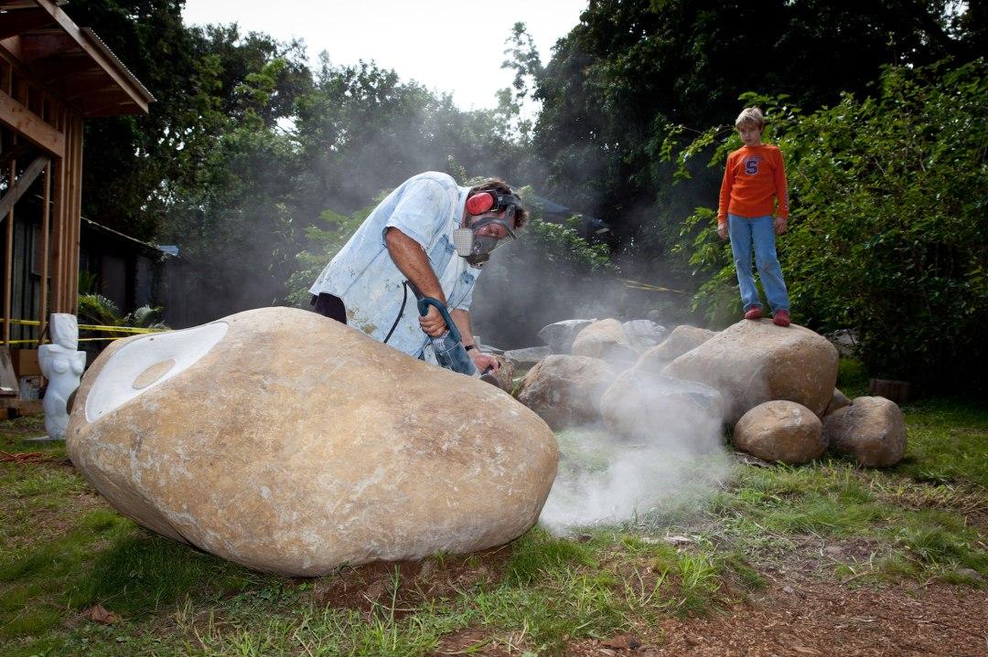 Tim Garcia, Maui sculptor, at work in his Makawao studio.