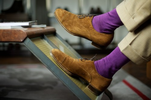 purple socks brown shoes Accessories Part 1: Socks, Pocket Squares, Tie Bars