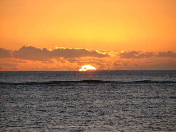 Sunset on the beach in Mauritius