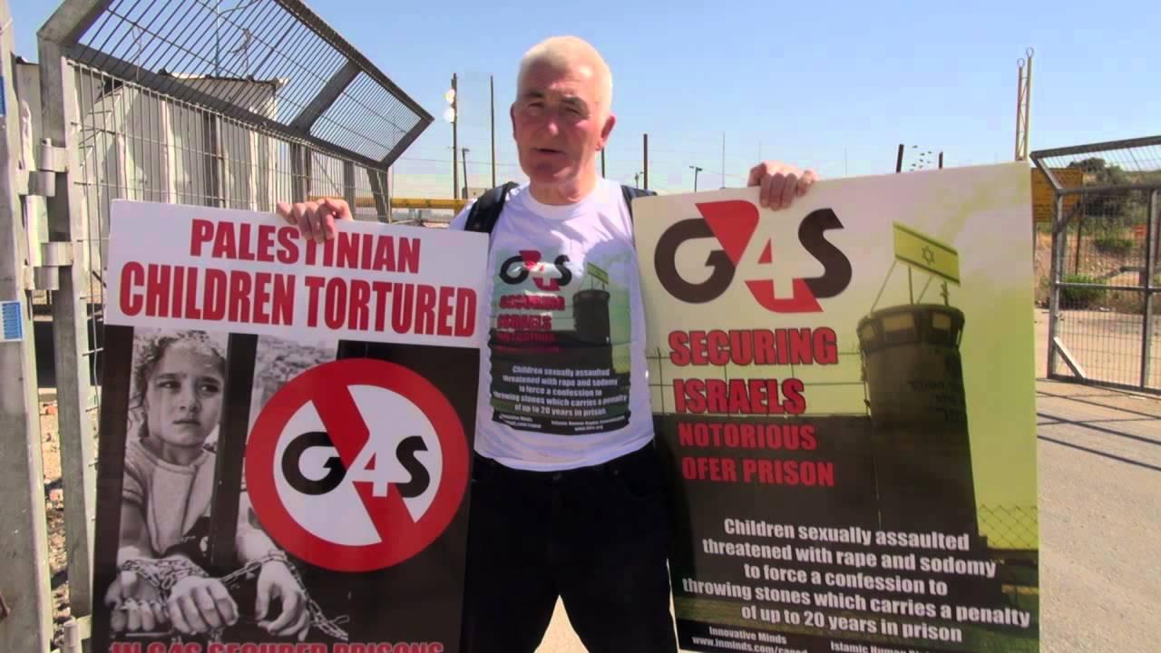 Un manifestante boicotta la G4S