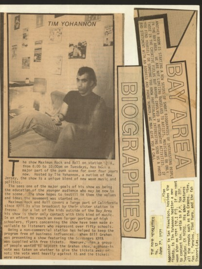 Article from Another Room magazine ca. 1981