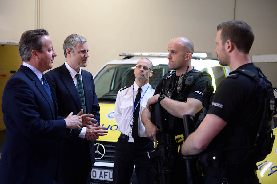 Image ©Licensed to i-Images Picture Agency. Conservative Mayoral Candidate Zac Goldsmith with the Prime Minister David Cameron on visit to the British Transport Police. Picture by Andrew Parsons / i-Images