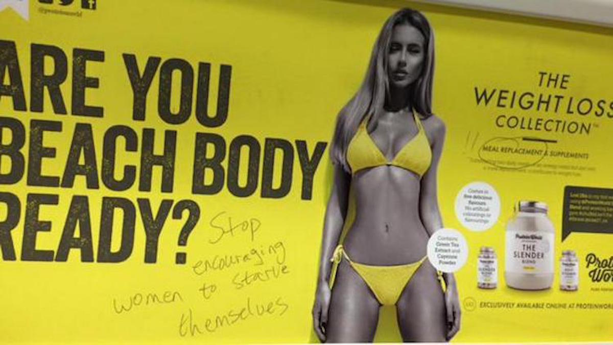 This advert was defaced by commuters who felt it set an unhealthy example to women