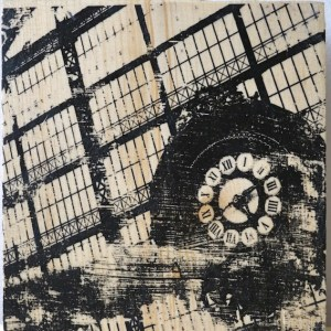 Distressed handmade print of the Musee d'Orsay station clock in Paris France