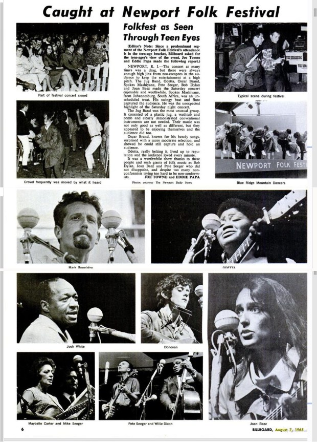 Newport Folk Festival, Billboard, August 7, 1965