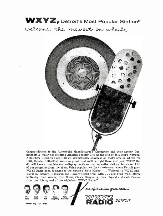 A 'BROADCASTING' WXYZ-1270 AD PAGE RIP: October 10, 1960 (click image 2x for largest view)
