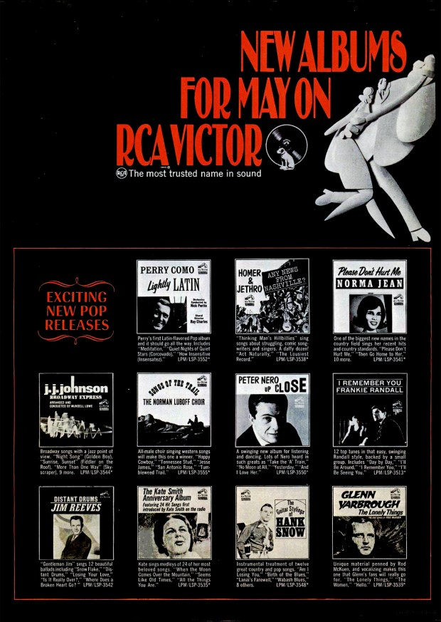 A RCA-VICTOR RECORDS Stereo-Pak AD BILLBOARD PAGE RIP: May 14, 1966 (click image 2x for largest view)