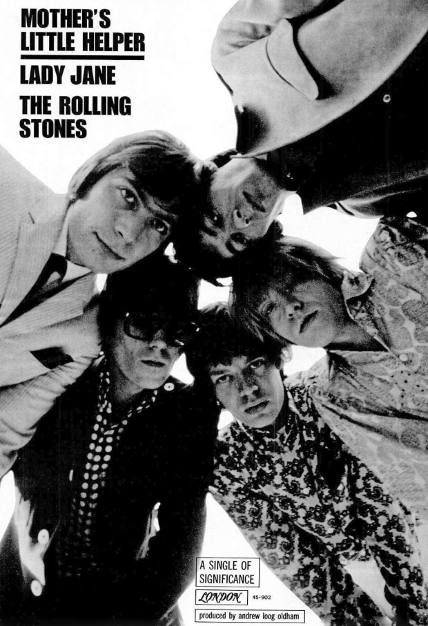 """A BILLBOARD LONDON RECORDS AD PAGE RIP: """"Mother's Little Helper,"""" Rolling Stones July 9, 1966 (click on image 2x for largest view)"""