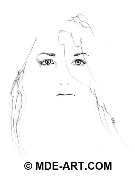 Pen & Ink Portrait Drawing of a Woman's Face