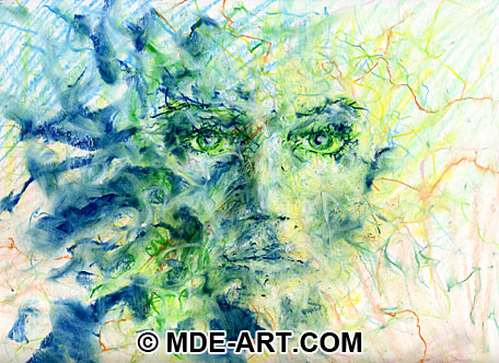 Portrait Drawing of a Face with Oil Pastels