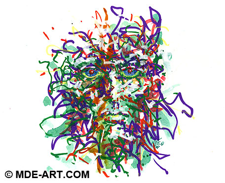 Abstract Impressionistic Drawing of a Head