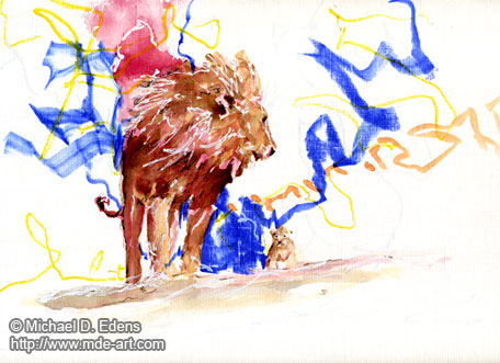 Lions - Drawing of a Big Lion and Little Lion