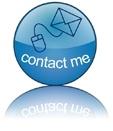 blauer Kontakt Button meditaterra mit Briefumschlag und Maus - contact me
