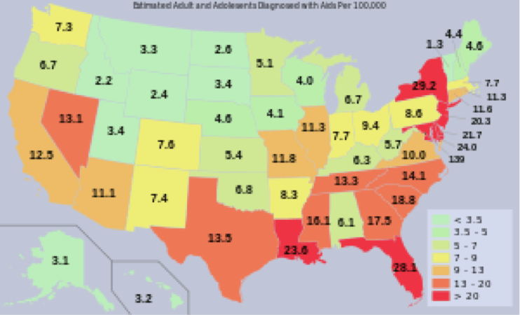 AIDS In The USA Medwiser - Hiv us map