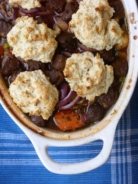 Beef-Less Burgundy Stew with Herb Dumplings