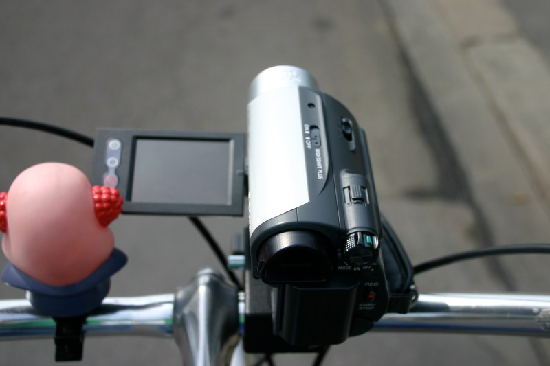 Camera clamped to bike