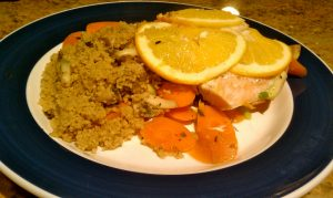 Salmon Veggie bake served with cous-cous