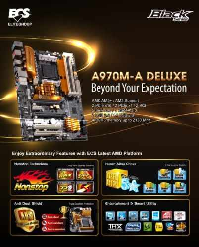 ECS New AMD Motherboard with the A970M A DELUXE   ECS A970M A DELUXE 2 402x500