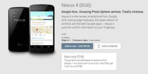 Nexus 4 Smartphone Only $199 on Google Play Store   nexus 4 500x250