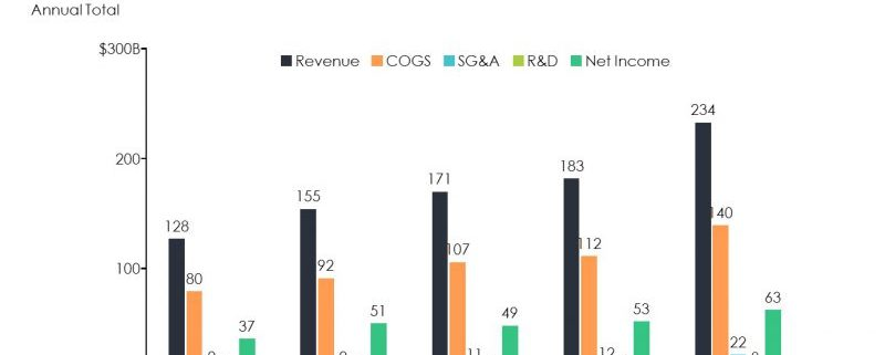 Revenue, COGS, SG&A, R&D, Net Income and Net Margin by Year for 5 Years
