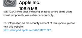 Apple rilascia iOS 10.0.3 ecco changelog e link download