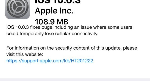 Apple rilascia iOS 10.0.3 ecco changelog e link download