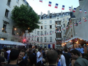 One of the famous Bals de Pompiers [Balls of the Firefighters] that occur throughout the city to celebrate La Fête Nationale or Bastille Day--a great opportunity to meet and dance the night away with Parisians