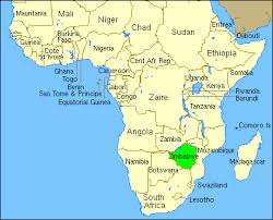 The African continent is 4 times the size of the US.  Zimbabwe is highlighted in green.